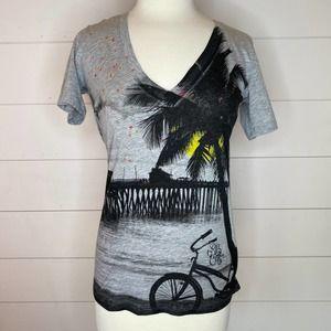 Rip Curl Gray V-Neck T-Shirt  - M